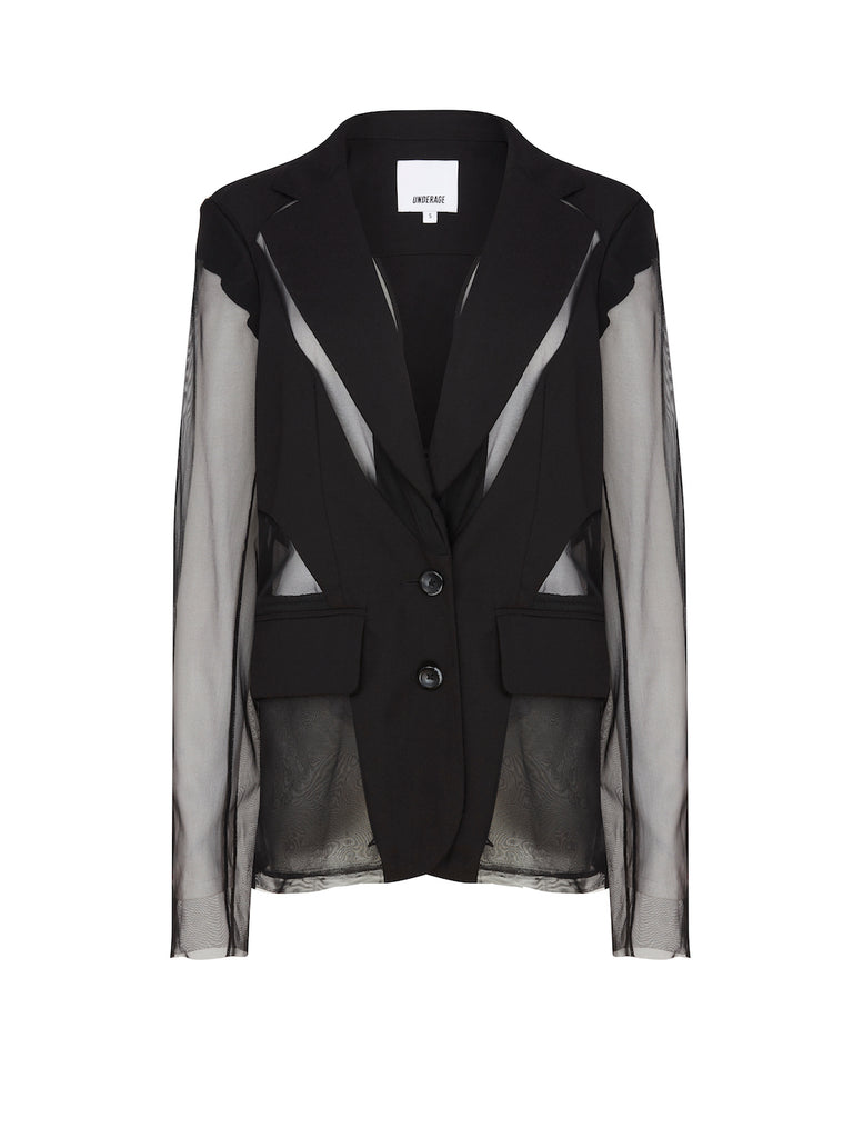 Deconstructed Blazer with Detachable Sleeves in Black