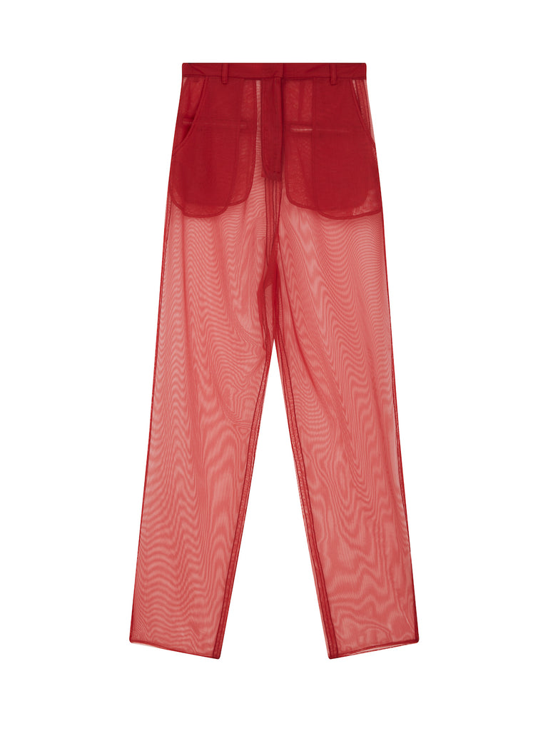 Mesh Trousers in Red
