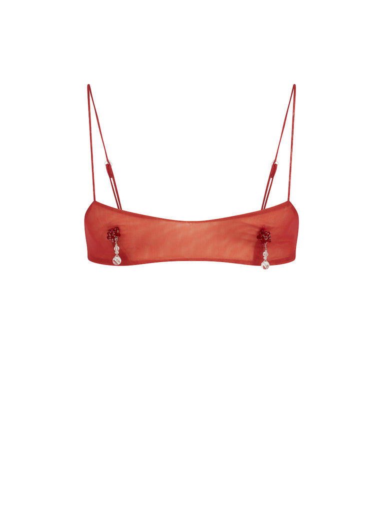 Bra Top with Nipple Tassels in Red