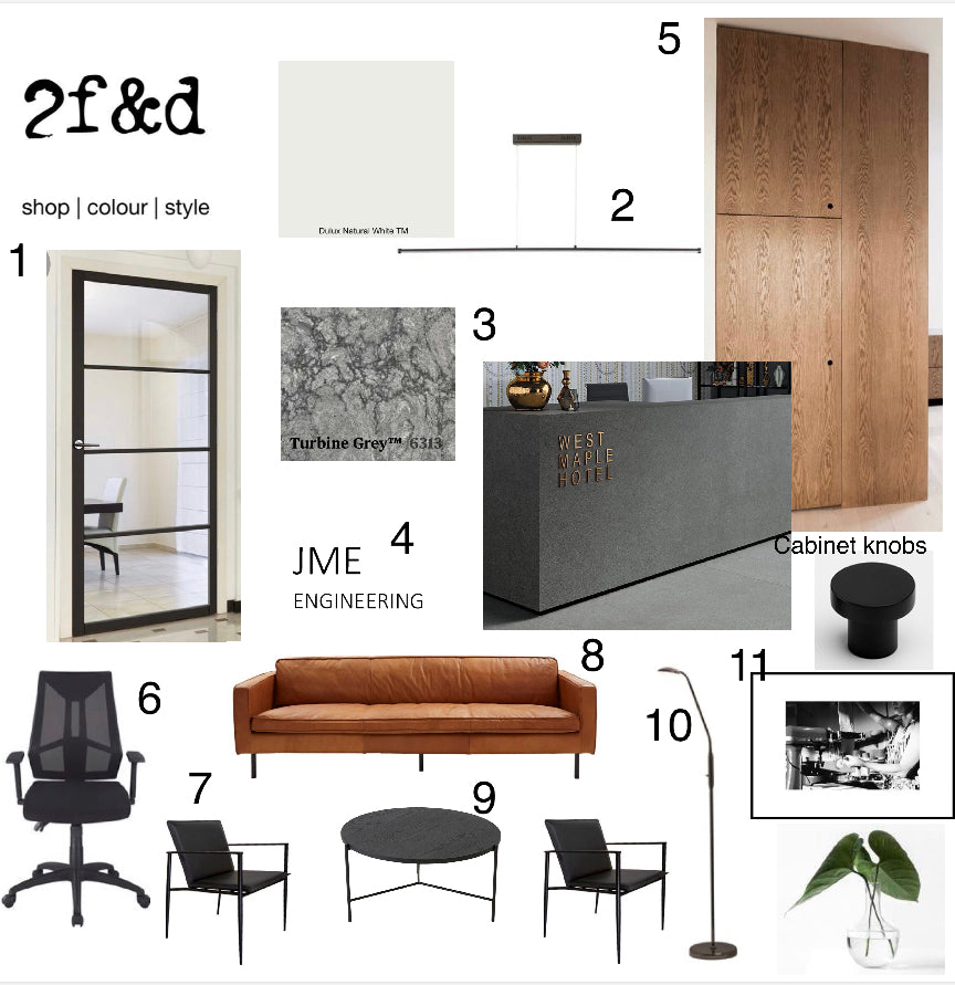 Commercial Design Concept Moodboard Industrial Design Colour Consult Interior Design Interior Decorating Warehouse Design Contemporary Design Reception Counter Kitchen Bathroom Exterior Illawarra Wollongong Shellharbour Austinmer Thirroul Gerringong Berry Bowral Jervis Bay