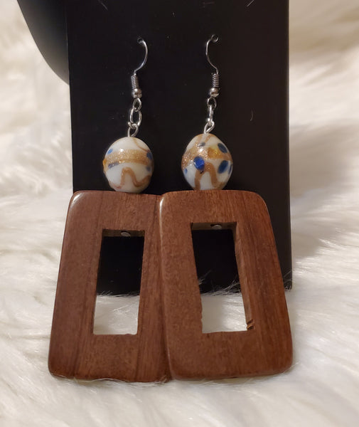 Rectangle Wood Earrings