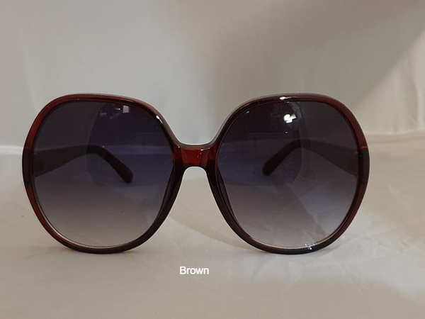 Oversized Round Sunglasses-Brown