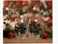 Christmas Themed Stemless Wineglasses