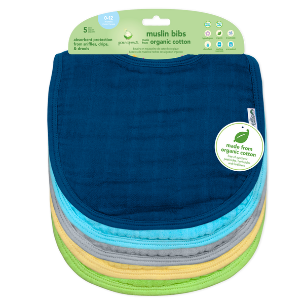 Muslin Bibs made from Organic Cotton (5 pack)
