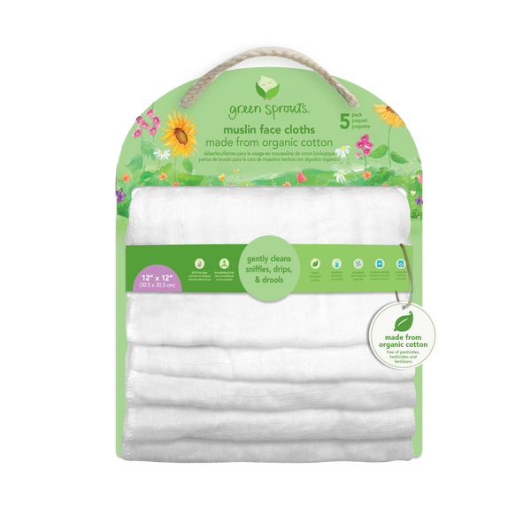 Reusable Muslin Cloths made from Organic Cotton (5 pack)
