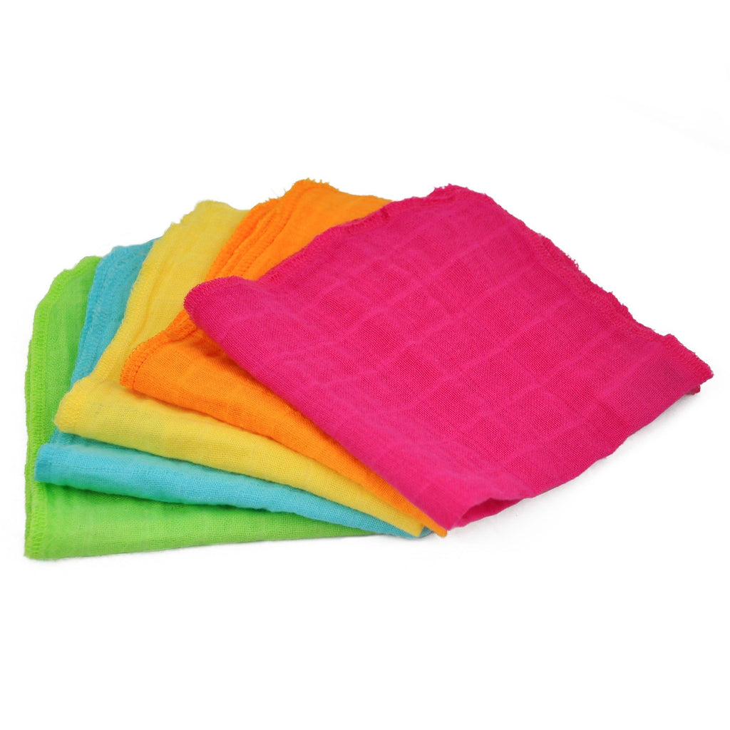 Muslin Face Cloths made from Organic Cotton (5 pack)