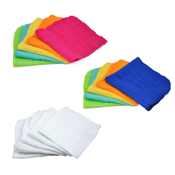 Assorted Reusable Muslin Cloths made from Organic Cotton (Multiples of 6)