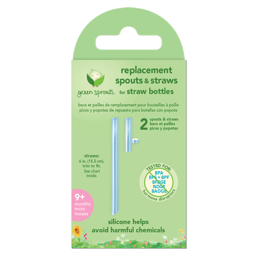 Replacement Spouts and Straws for Straw Bottles (2 pack)