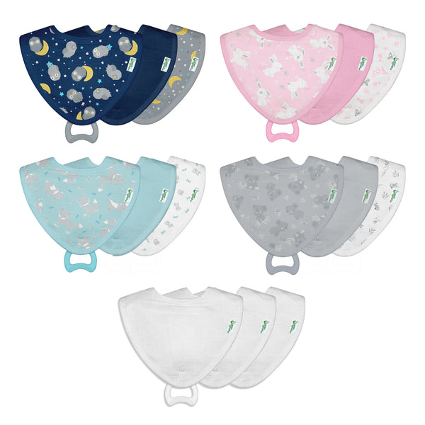 Assorted Muslin Stay-dry Teether Bibs made from Organic Cotton (Multiples of 5)