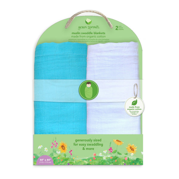 Muslin Swaddle Blankets made from Organic Cotton (2 pack)