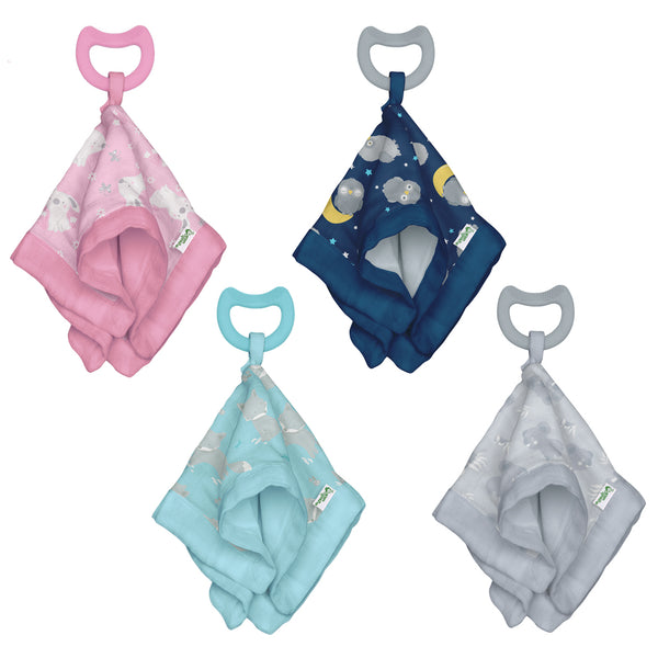 Muslin Snuggle Blankie Teether made from Organic Cotton