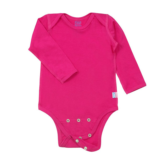 Pink Long Sleeve Adjustable Bodysuit made from Organic Cotton