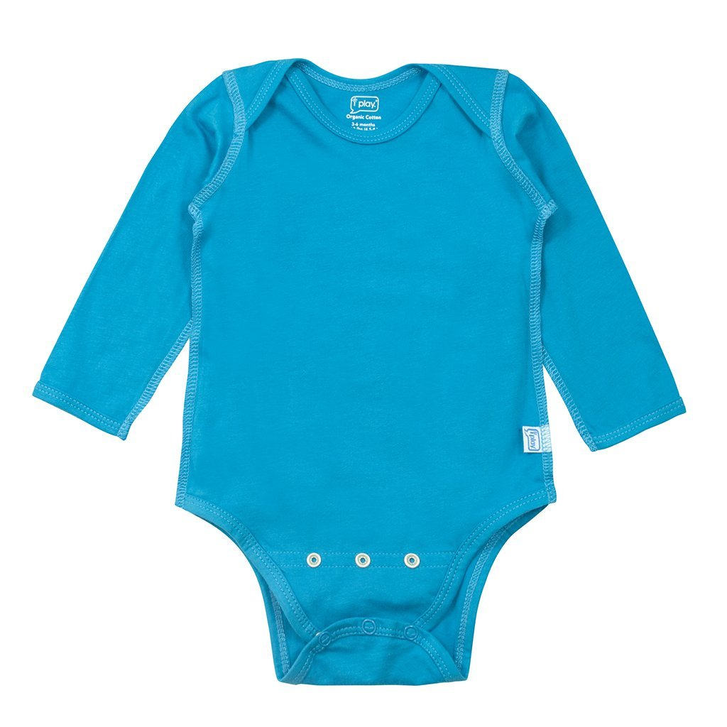 Aqua Long Sleeve Adjustable Bodysuit made from Organic Cotton