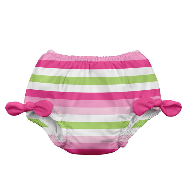 Pink Stripe Classic Bow Swimsuit Bottom with Built-in Reusable Absorbent Swim Diaper