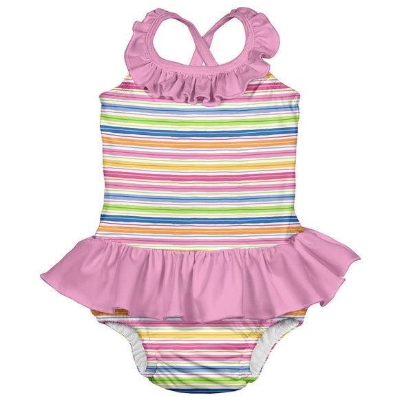 Mix & Match One-piece Ruffle Swimsuit with Built-in Reusable Absorbent Swim Diaper