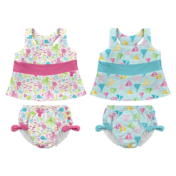 Two-piece Bow Tankini Swimsuit Set with Snap Reusable Absorbent Swim Diaper