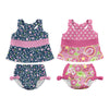 Two Piece Bow Tankini Swimsuit Set with Snap Reusable Absorbent Swim Diaper