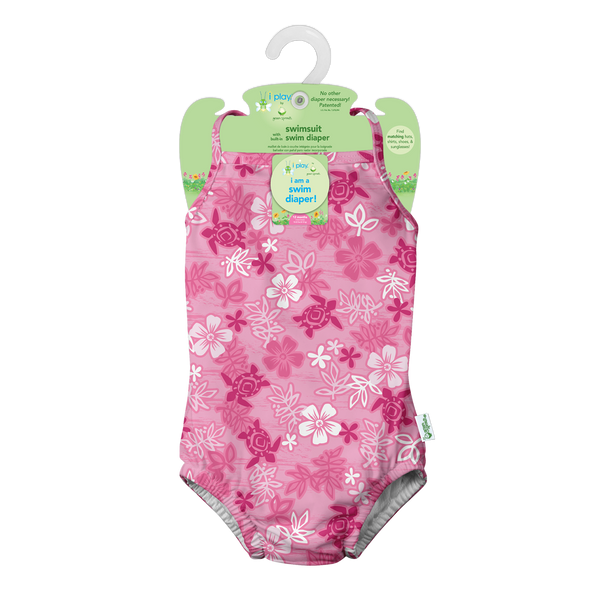 One-piece Classic Swimsuit with Built-in Reusable Absorbent Swim Diaper