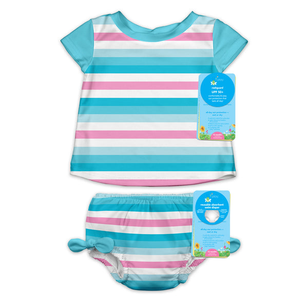 Two-piece Rashguard Swimsuit Set with Snap Reusable Absorbent Swim Diaper