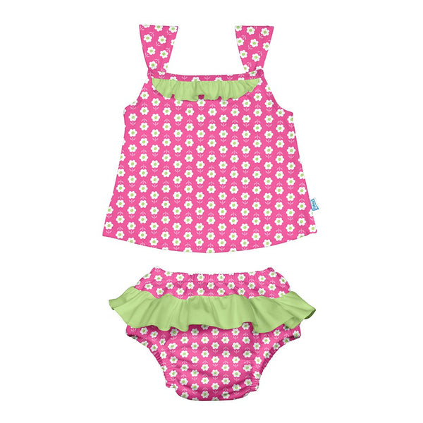 Hot Pink Daisy Classic Two-piece Ruffle Tankini with Built-in Reusable Absorbent Swim Diaper