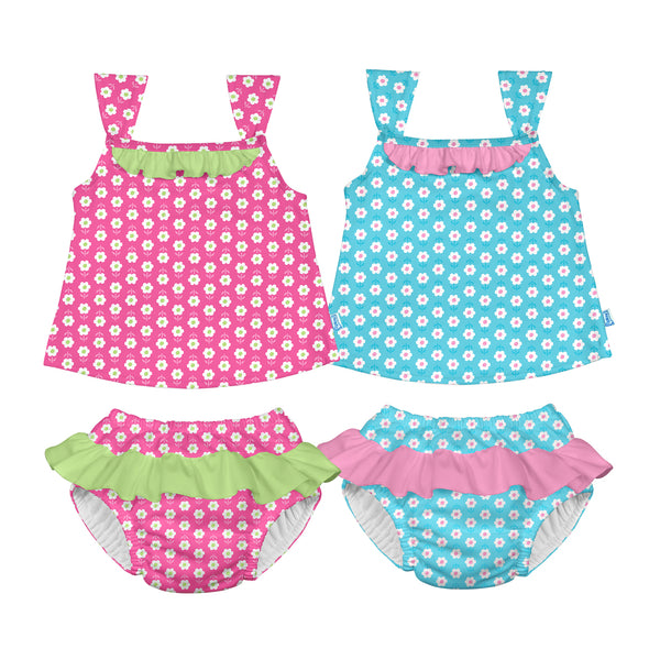 Classic Two-piece Ruffle Tankini with Built-in Reusable Absorbent Swim Diaper