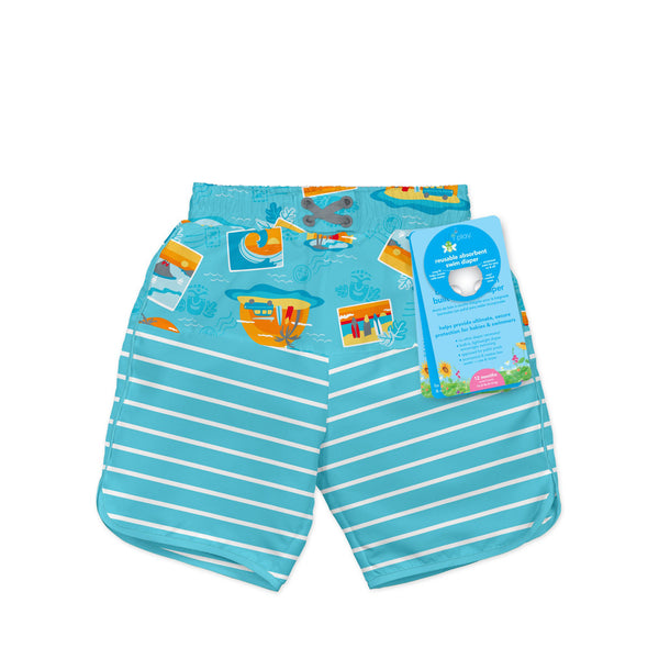 Mix & Match Board Shorts with Built-in Reusable Absorbent Swim Diaper