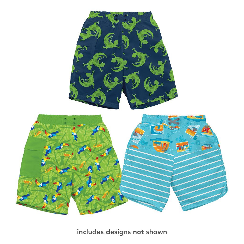 Assorted Boy Print Trunks with Built-in Reusable Absorbent Swim Diaper (Multiples of 6)