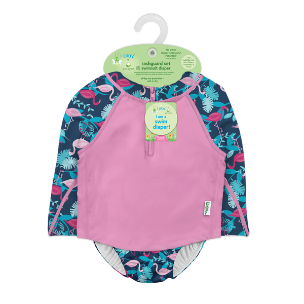 Two-piece Rashguard Set with Snap Reusable Absorbent Swim Diaper