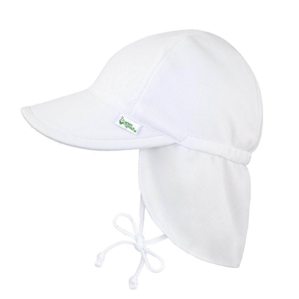 White Breathable Swim and Sun Flap Hat