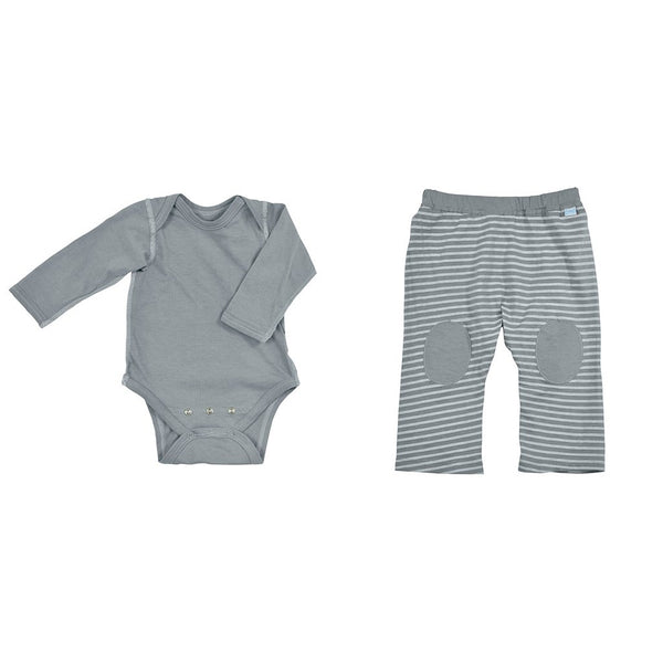 Gray Long Sleeve Bodysuit + Yoga Pant Set made from Organic Cotton