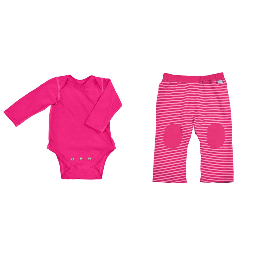 Pink Long Sleeve Bodysuit + Yoga Pant Set made from Organic Cotton