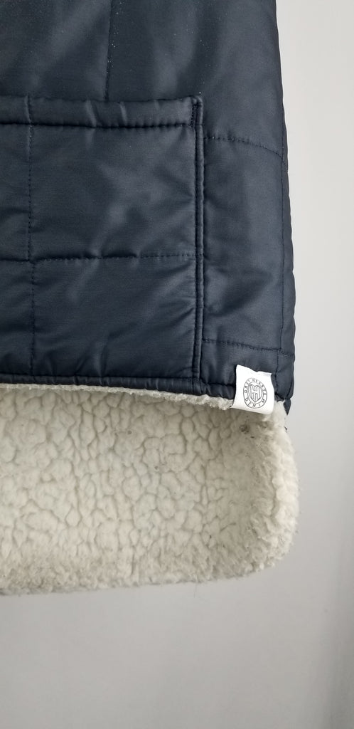 Mark's Work Warehouse - Quilted Vest/Blue With Off-White Sherpa Lining - Grey Hearts Kelowna