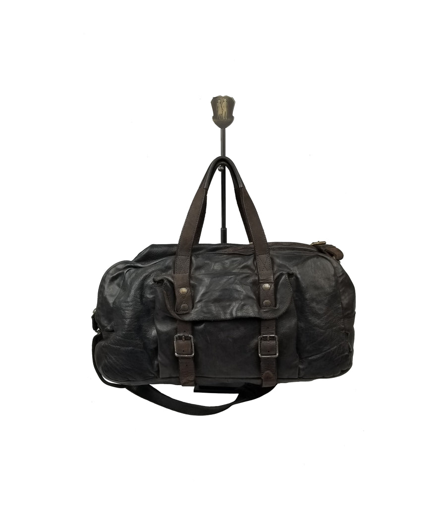 "Aunts & Uncles - ""Fu Manchu"" Weekender Bag with Dark Brown Leather - Grey Hearts Kelowna"