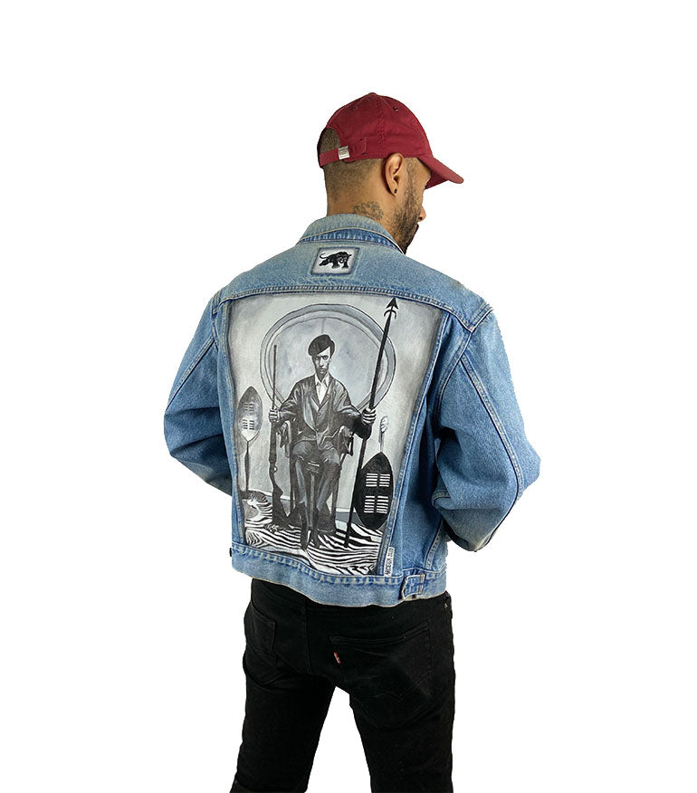 "Raffle entry - ""Huey P Newton Denim Jacket"" by Ben Arcega - Grey Hearts Kelowna"