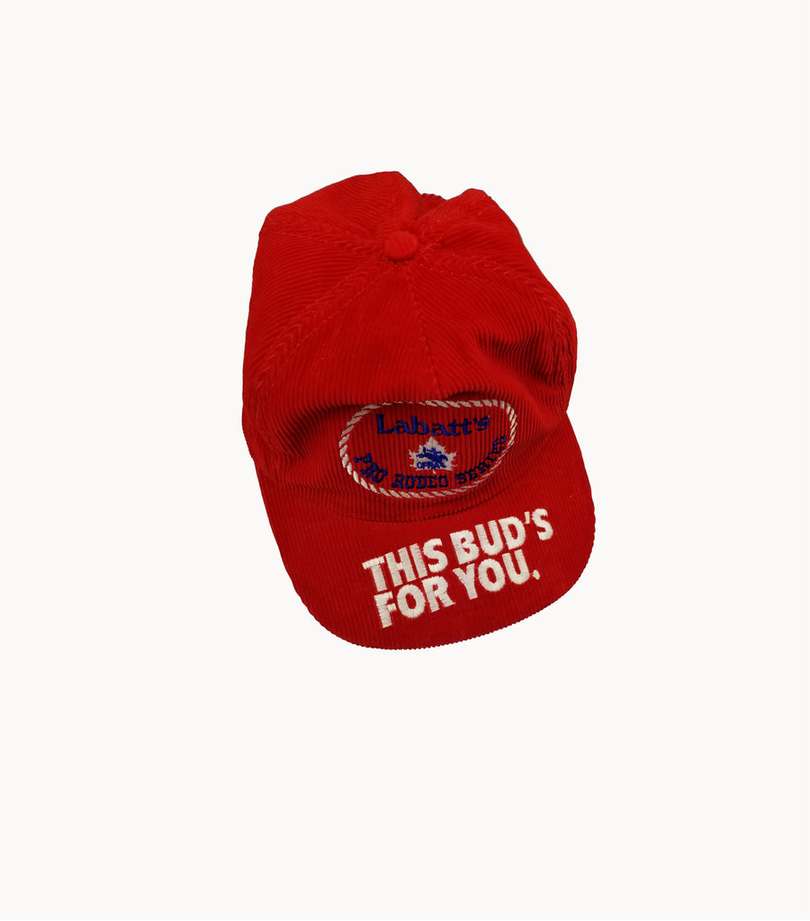 Labatt's Red Corduroy Hat - Grey Hearts Kelowna