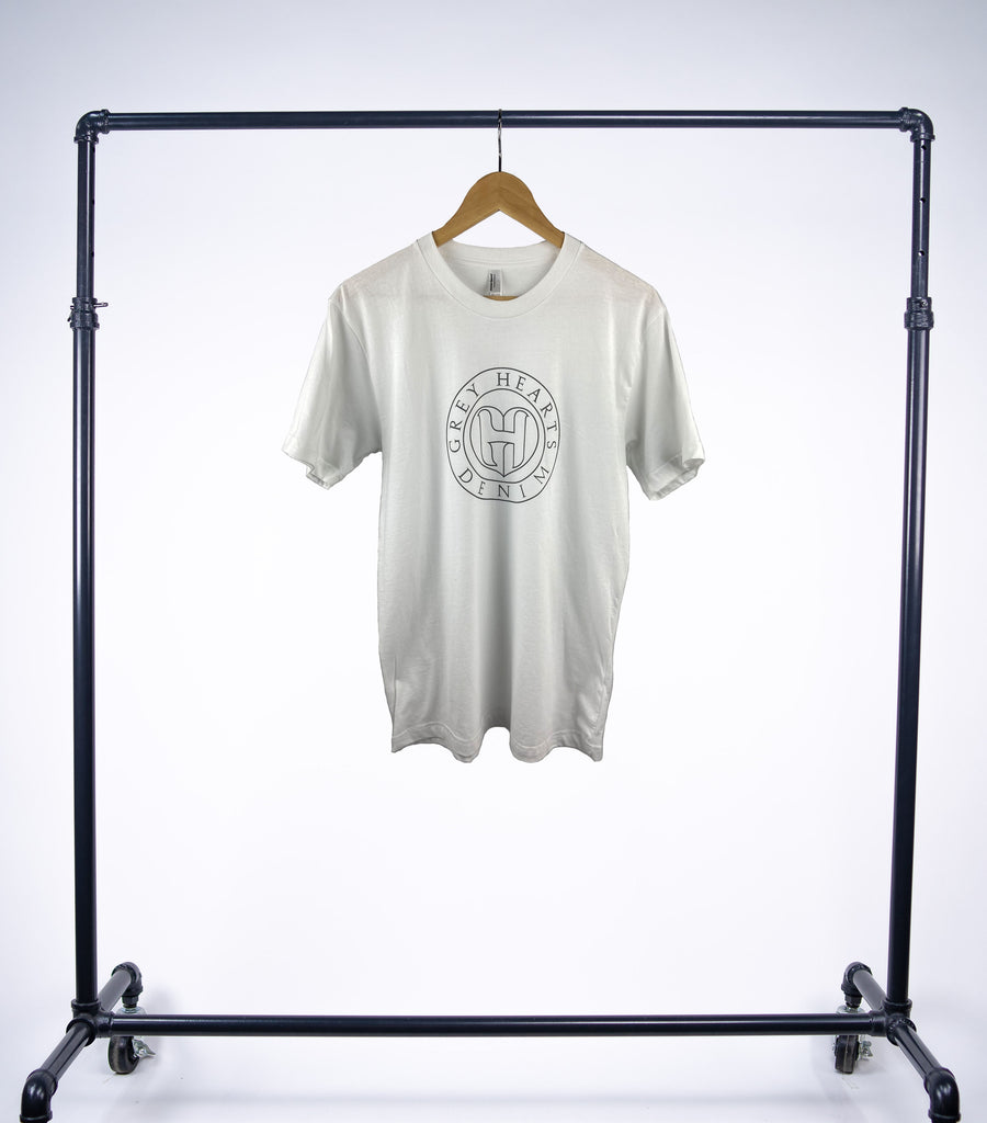 Grey Hearts Denim White Shortsleeve Logo Tee - Grey Hearts Kelowna
