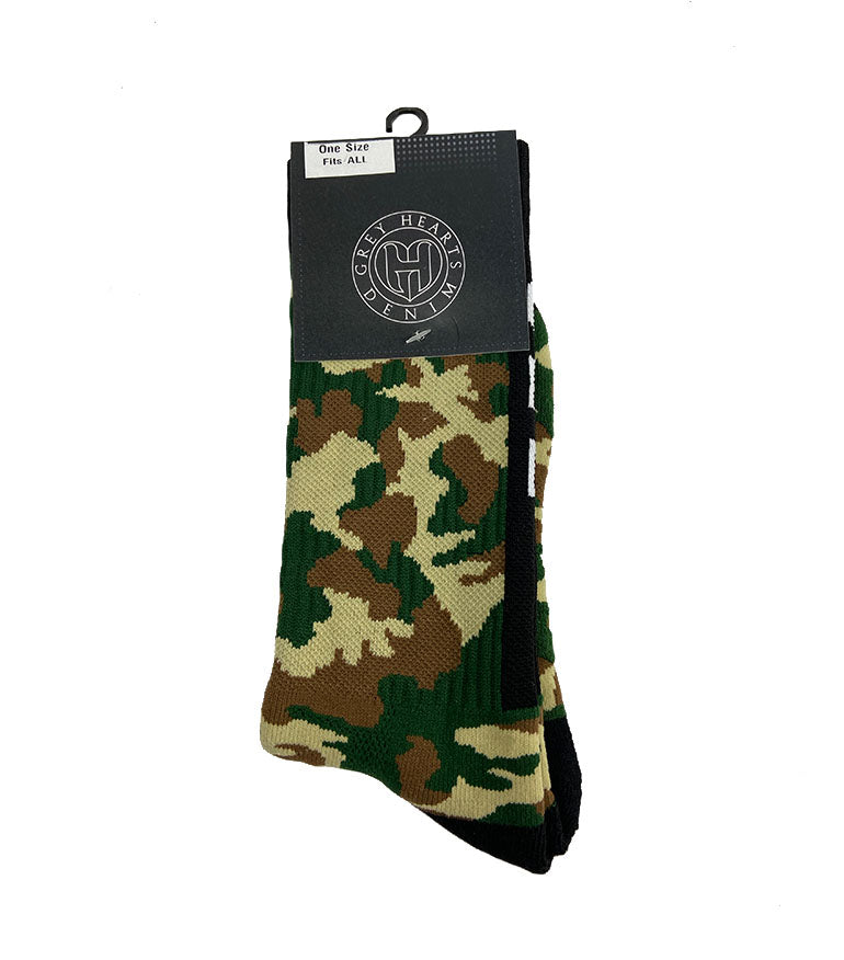 Grey Hearts Denim Army Camo GHD Socks - Grey Hearts Kelowna