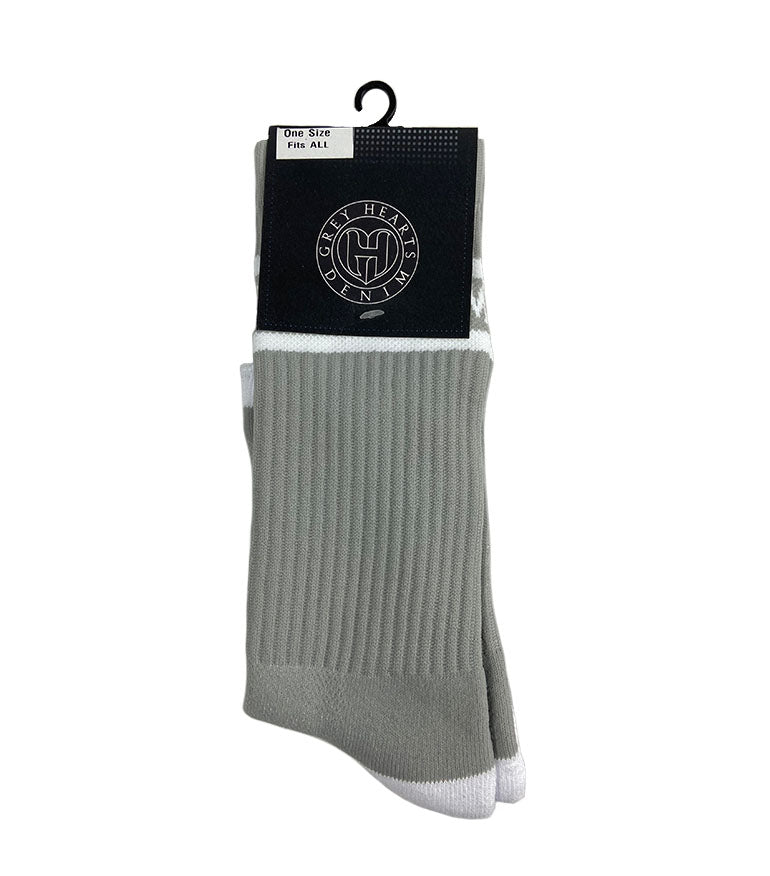 Grey Hearts Denim Font Socks Grey - Grey Hearts Kelowna