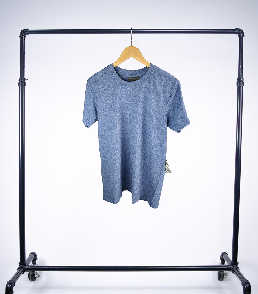 Naked & Famous  Circular Knit T-Shirt - Heather Blue - Grey Hearts Kelowna