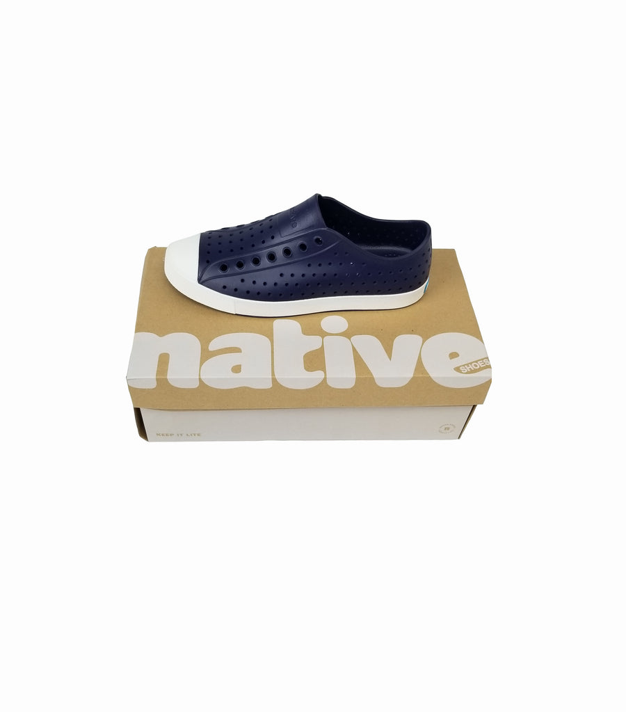 Native Jefferson Slip On Shoe - Regatta Blue & Shell White - Grey Hearts Kelowna