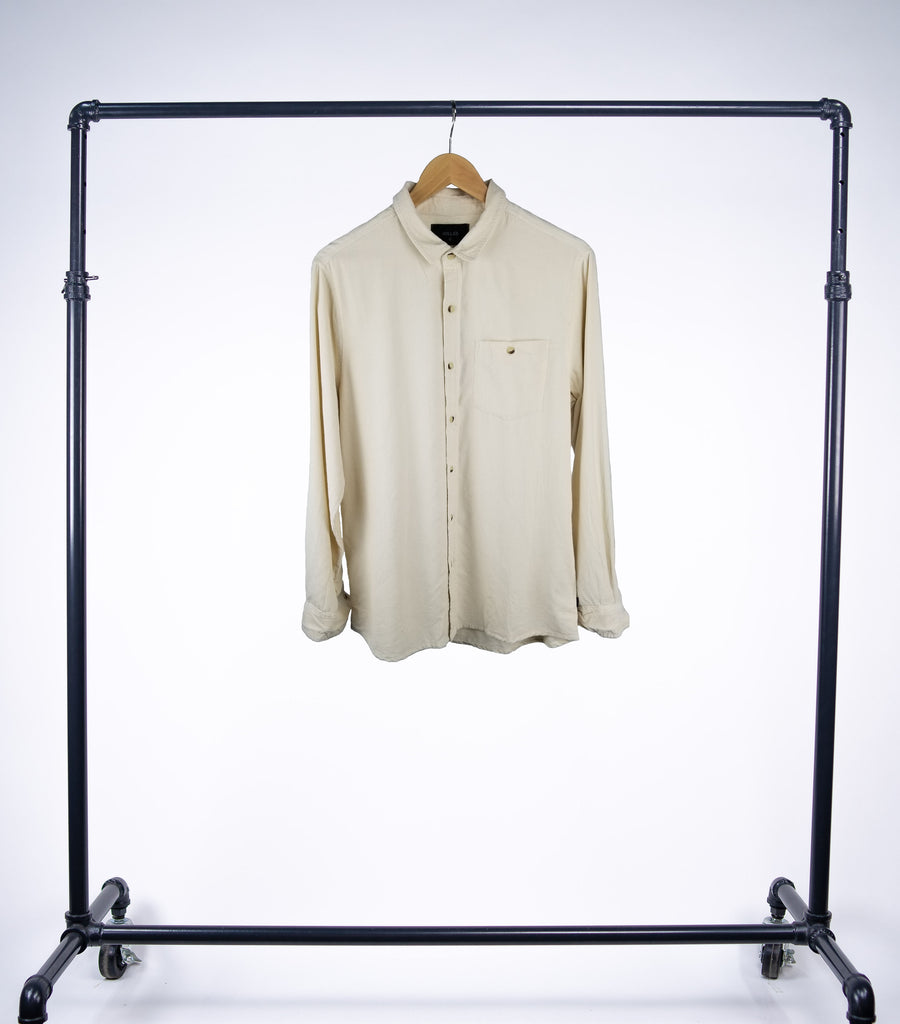 Rollas Men At Work Corduroy Shirt - Natural - Grey Hearts Kelowna