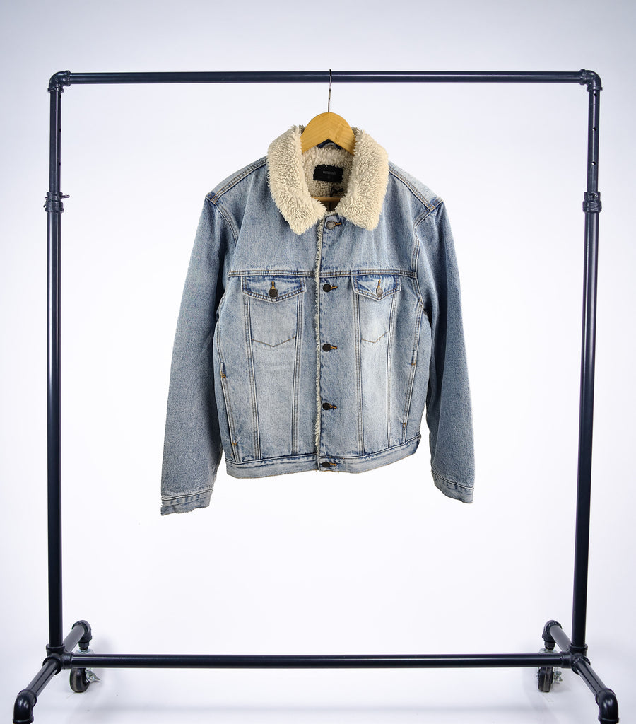 Rollas Denim Sherpa Jacket - Original Stone - Grey Hearts Kelowna