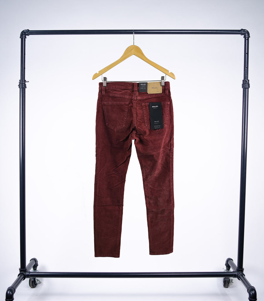 Rollas Tim Slims Burgundy Cords - Grey Hearts Kelowna