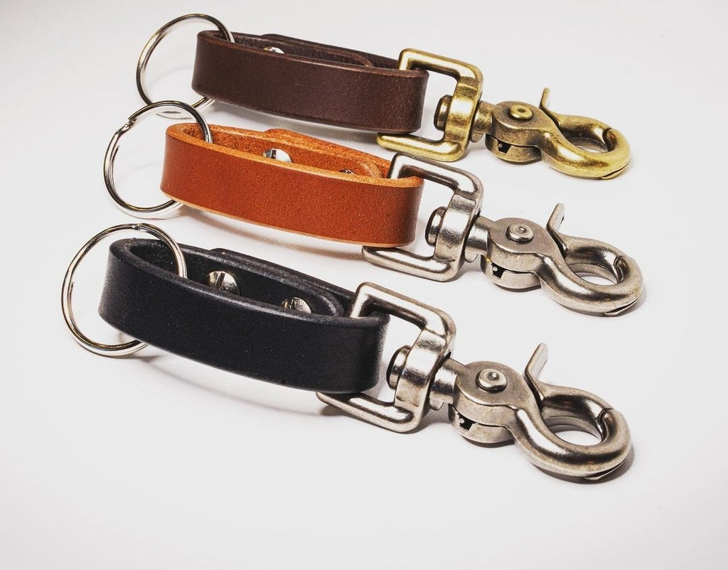 Esquire  Leather Keychain - Grey Hearts Kelowna