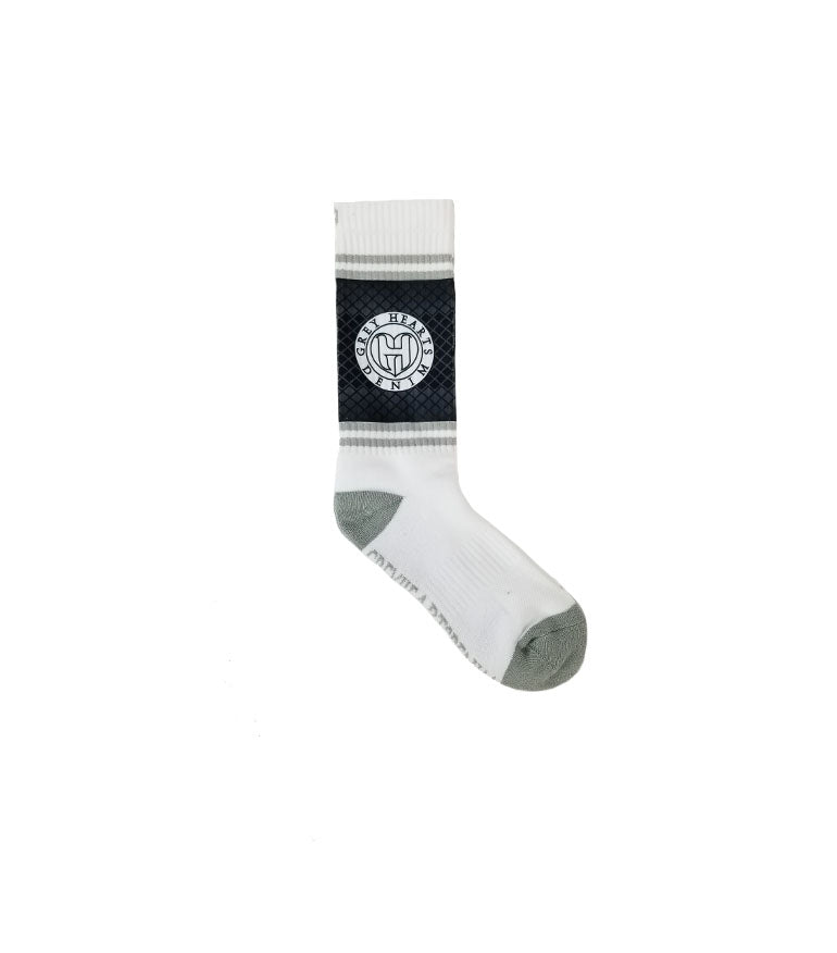 Grey Hearts Denim Logo Socks - Grey Hearts Kelowna