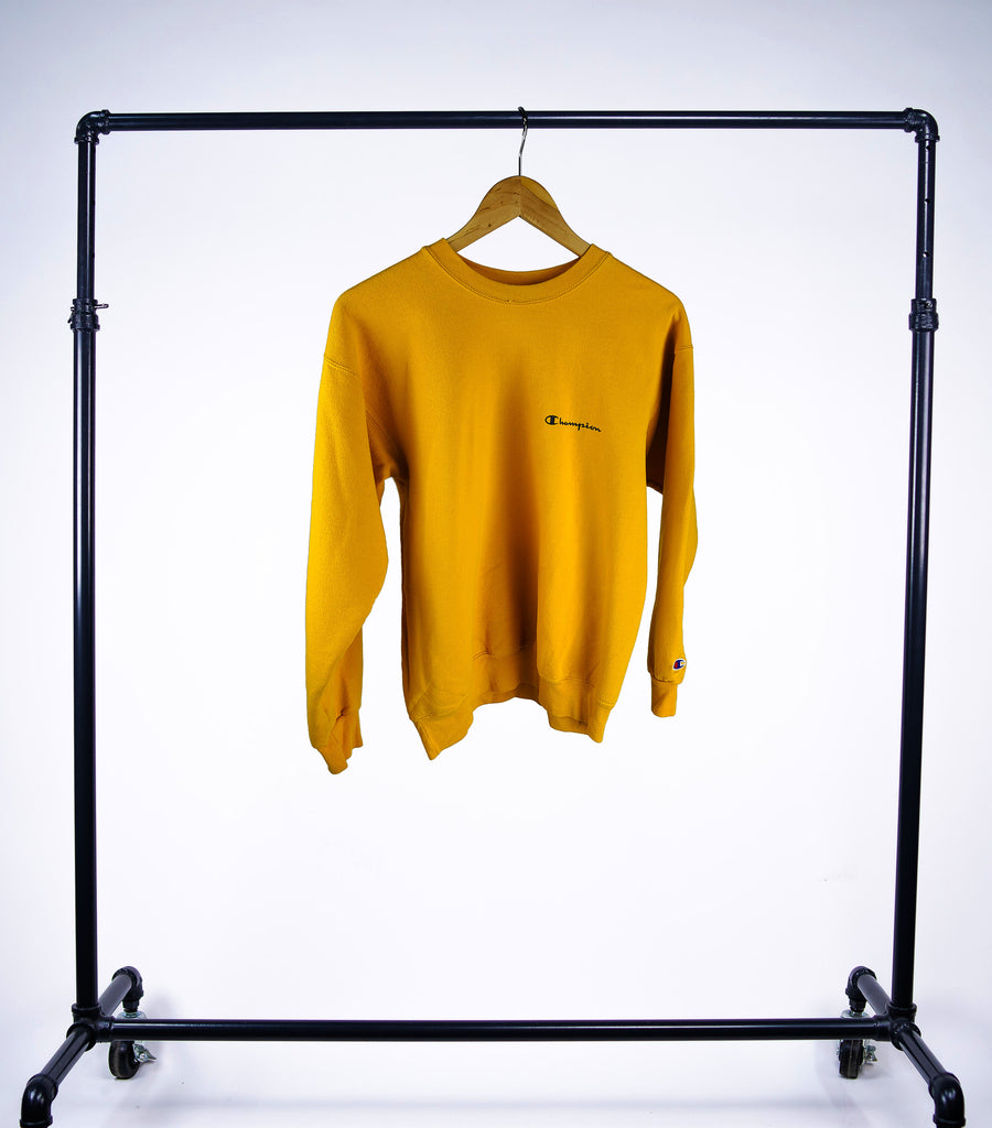 Vintage Champion Crewneck Sweatshirt - Yellow - Grey Hearts Kelowna