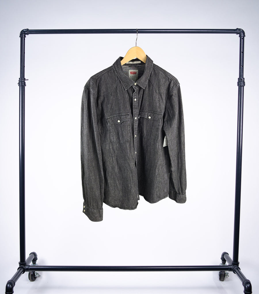 Vintage Black Levis Denim Button-up Shirt - Grey Hearts Kelowna