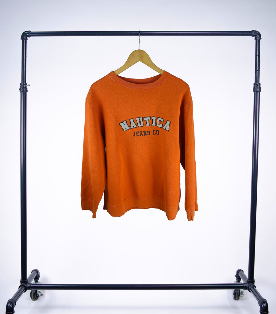 Vintage Nautica Jeans Co. Crewneck Sweatshirt - Orange - Grey Hearts Kelowna