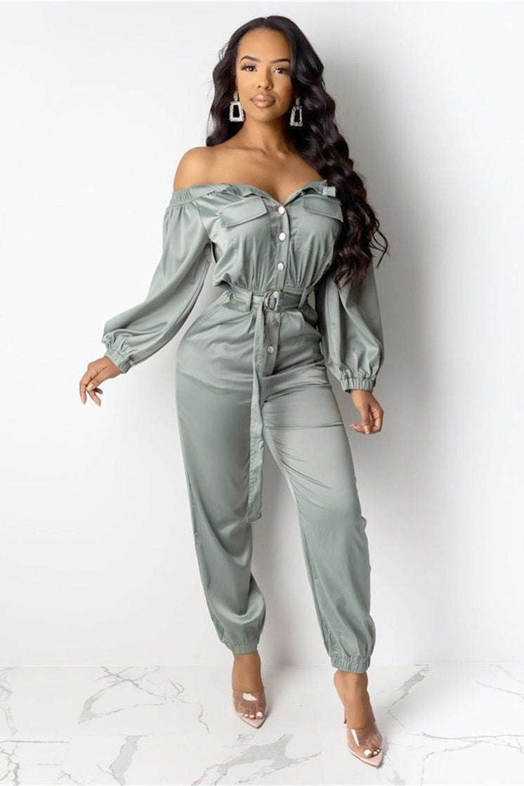 Off-Shoulder Front-Button Jumpsuit