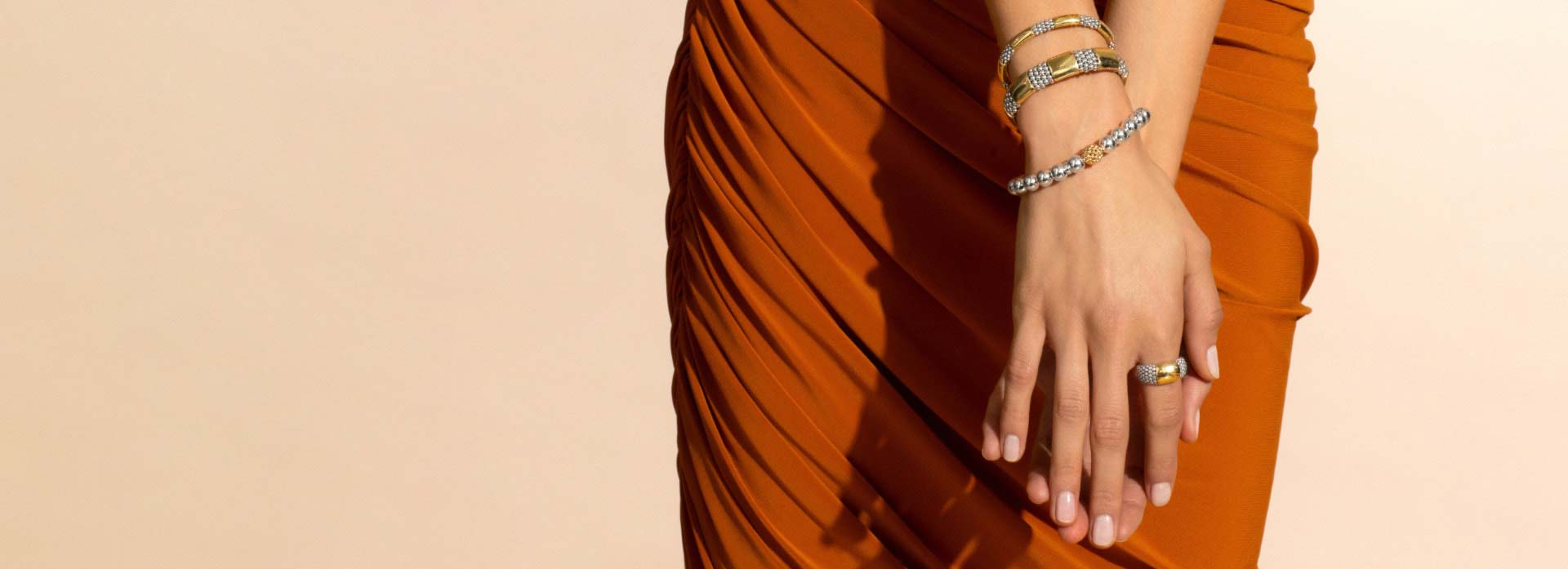 bracelets and rings with 18K gold and sterling silver Caviar beaded accents